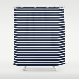 Nautical Navy and White Horizontal Stripes Shower Curtain