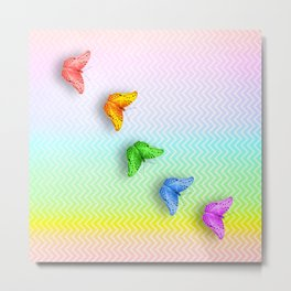 Rainbow butterflies and chevron Metal Print