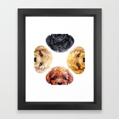 Toy poodle friends mix, original painting print by miart Framed Art Print