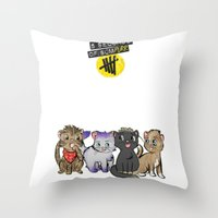 5 seconds of summer Throw Pillows featuring 4 cats for 5 seconds - white by Australienidiots
