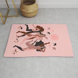 wild dance under the pink sun Rug