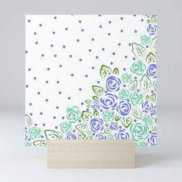 Garden Rose and Dots - Blue Mint Mini Art Print