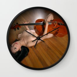 0149-JC Nude Cellist with Her Cello and Bow Naked Young Woman Musician Art Sexy Erotic Sweet Sensual Wall Clock