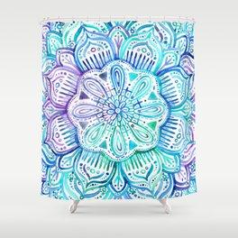 Iridescent Aqua and Purple Watercolor Mandala Shower Curtain