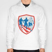 crossfit Hoodies featuring American Crossfit Runners USA Flag Retro  by patrimonio