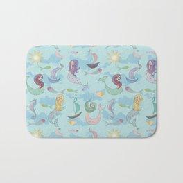 Mermaids, Sea and Boats Pattern Bath Mat