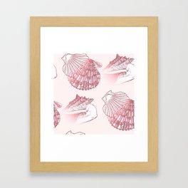 Seashells Coastal Nautical Pattern Pink Framed Art Print