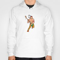 lacrosse Hoodies featuring Native American Lacrosse Player Cartoon by patrimonio