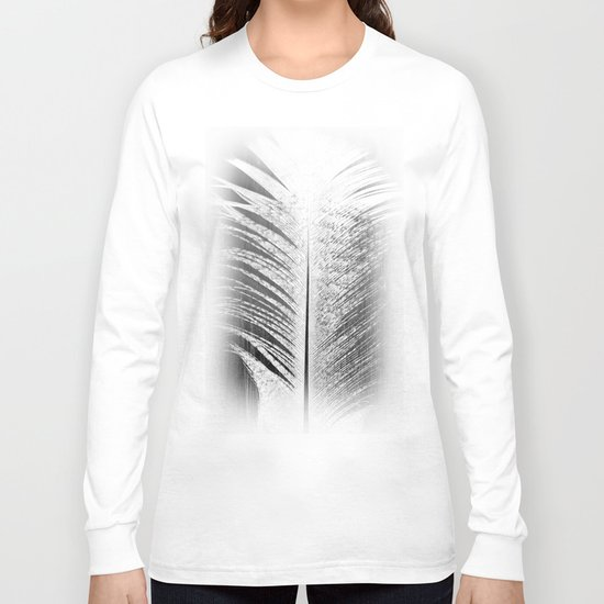 White and Grey Feather Long Sleeve T-shirt