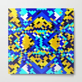 square pixel pattern abstract in blue and yellow Metal Print