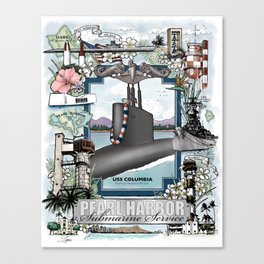 USS Columbia - Pearl Harbor Submarine Service (Silver Dolphins) Canvas Print