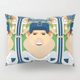 Baseball Blue Pinstripes - Rhubarb Pitchbatter - Josh version Pillow Sham