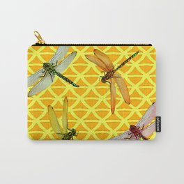 DRAGONFLIES PATTERNED YELLOW-BROWN ORIENTAL SCREEN Carry-All Pouch