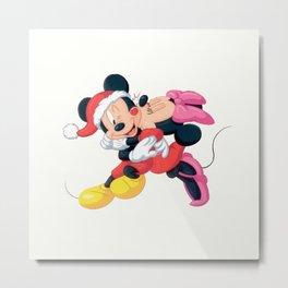 Cute Mickey and Minnie Metal Print