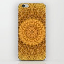 Sunflower Feather Bohemian Sun Ray Pattern \\ Aesthetic Vintage \\ Yellow Orange Color Scheme iPhone Skin