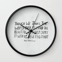waldo Wall Clocks featuring Ralph Waldo Emerson: Beautiful by Leah Flores