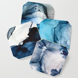 White Sand Blue Sea - Alcohol Ink Painting Coaster
