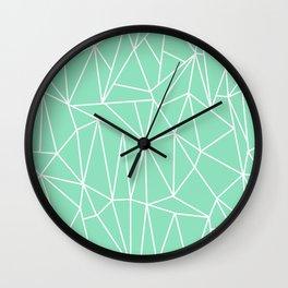 Geometric Cobweb (White & Mint Pattern) Wall Clock