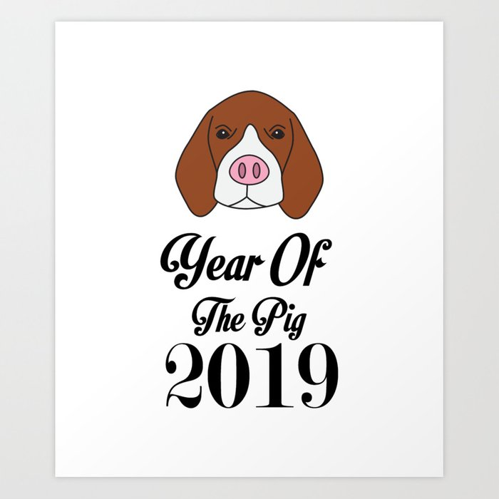 Funny Beagle Pig Happy New Year 2019 Dog Lover Gift Art Print by magnum
