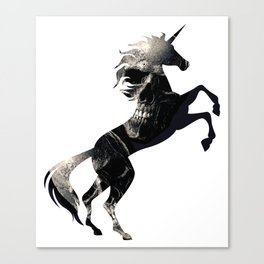 Unicorn Scary Skull Symbol Magical Unicorn Spooky Canvas Print