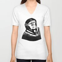 spaceman V-neck T-shirts featuring SpaceMan by Juicebox Farley