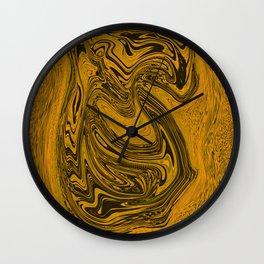 Black and gold liquid merger Wall Clock