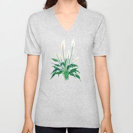 peace lily painting Unisex V-Neck