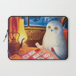 Snow Owl In The Old Car Laptop Sleeve