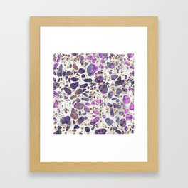 Terrazzo - Labradorite and gold on marble #2 Framed Art Print