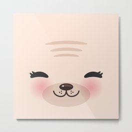 Kawaii funny cat with pink cheeks and winking eyes on pink background Metal Print