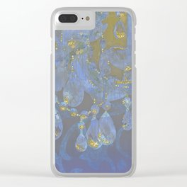 Champagne Ballroom closeup, glowing glitter fantasy chandelier Clear iPhone Case