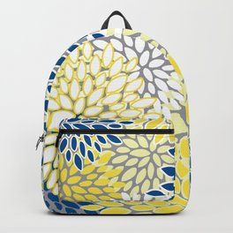 Modern Flowers Art, Blue, Yellow and Gray, Art Prints Backpack