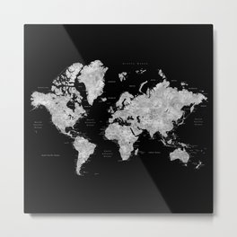 Black and grey watercolor world map with cities Metal Print