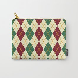 Maroon And Green Argyle Carry-All Pouch