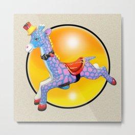 Kiddie Ride Pink Giraffe Metal Print
