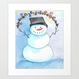 Watercolor Snowman With Floral Wreath Art Print