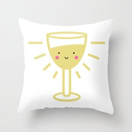 Kawaii White Wine Glass Throw Pillow