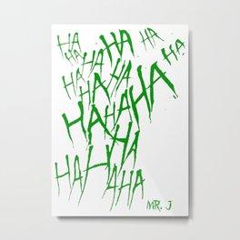 The Joker Laugh Green Metal Print