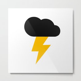 Yellow and Black Thunderclouds Pattern Metal Print
