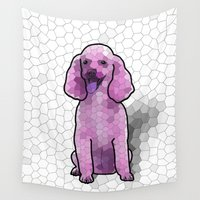 poodle Wall Tapestries featuring Poodle in Amethyst Mosaic by Pretty In Ink