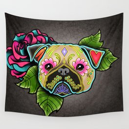 Pug in Fawn - Day of the Dead Sugar Skull Dog Wall Tapestry