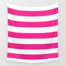 Barbie Pink (1999-2004) - solid color - white stripes pattern Wall Tapestry