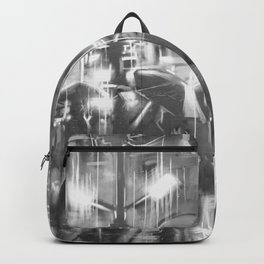 Rainy day in the city. Backpack