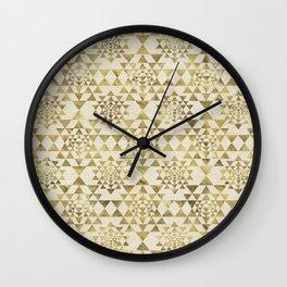 Sri Yantra  / Sri Chakra Pattern - Gold pastel Wall Clock