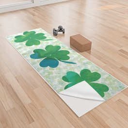 Lucky Watercolor Clovers Yoga Towel