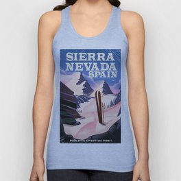 Sierra Nevada Spain ski poster. Unisex Tank Top