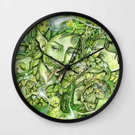 Faces in the Green Wall Clock