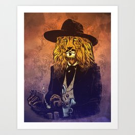 Low down, no good, Lion Cheetah Art Print