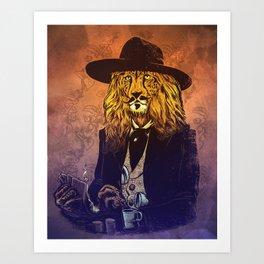 Low down, no good, Lion Cheetah Art Print