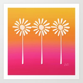 Gradient Sunflowers - Pink and Yellow Art Print